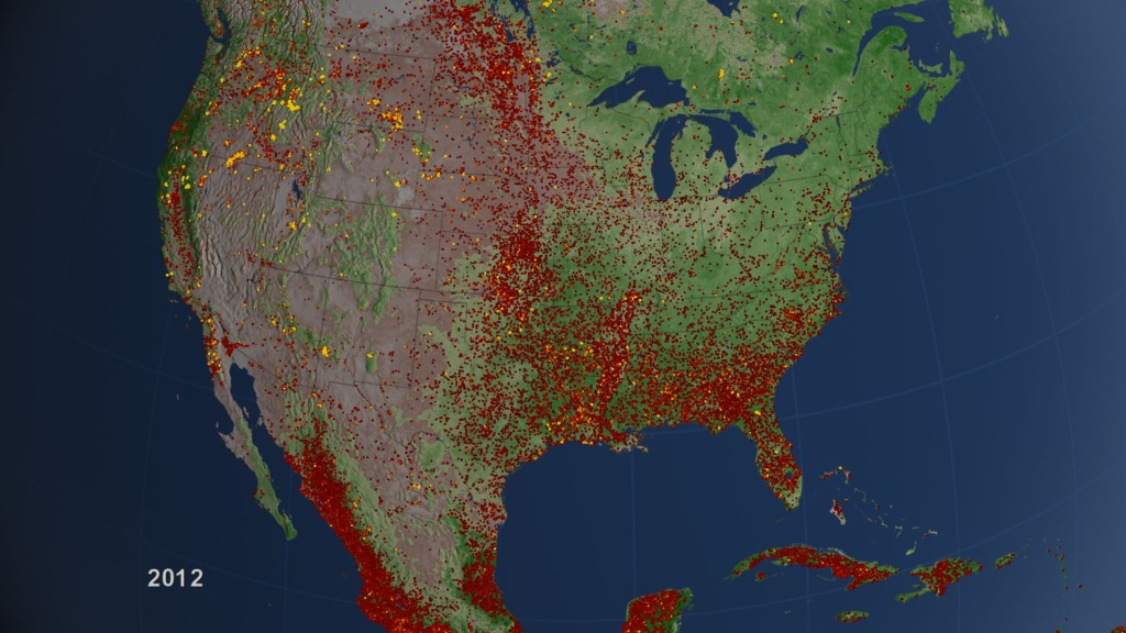 Forest fires in the US. Photo: NASA