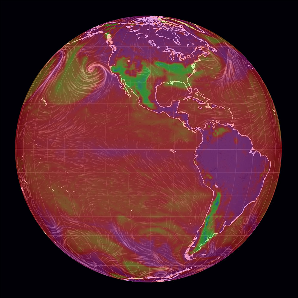 Relative humidity world map