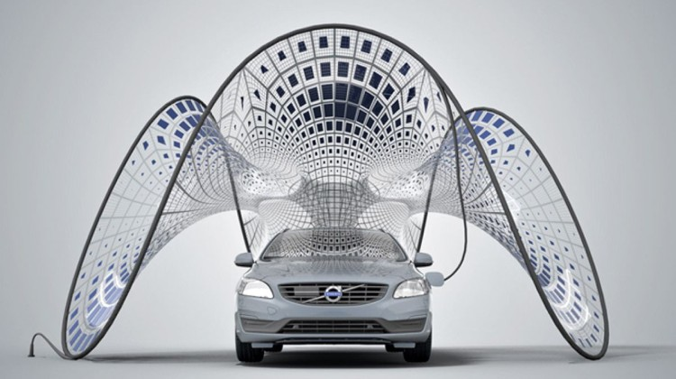Volvo V60 Hybrid Electric car, with unfurled solar-powered pavilion. Image: Synthesis Design + Architecture