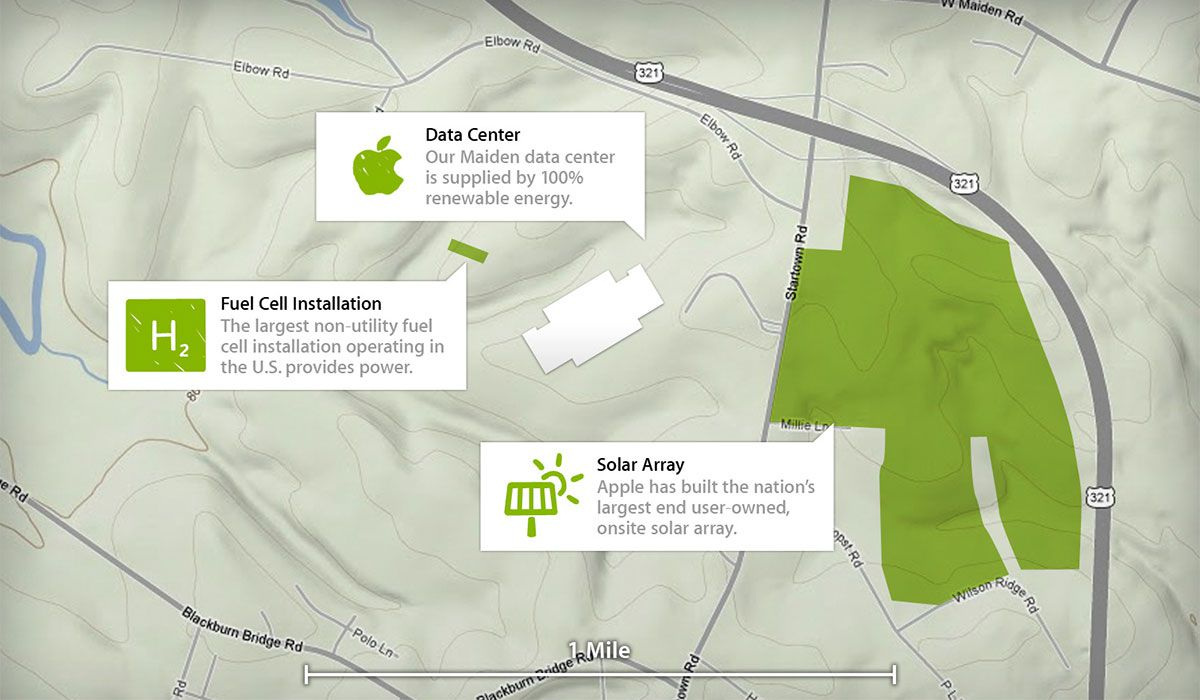 Illustration of Apple's data center in Maiden, North Carolina. The center received LEED Platinum certification from the U.S. Green Building Council. Image: Apple.