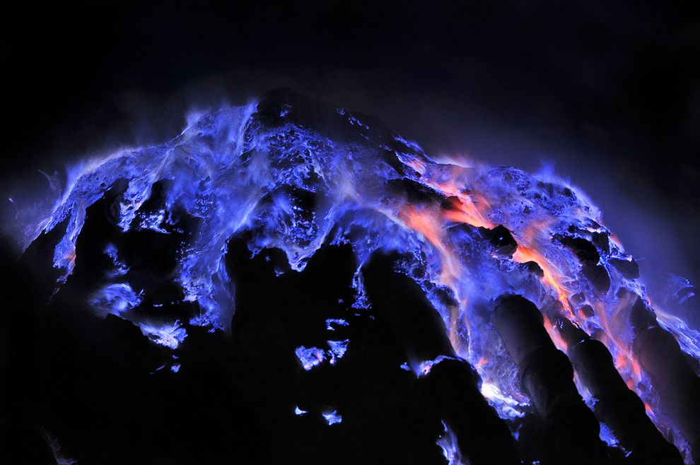 Rivers of blue flame at Kawah Ijen volcano. Photo: Olivier Grunewald/via National Geographic
