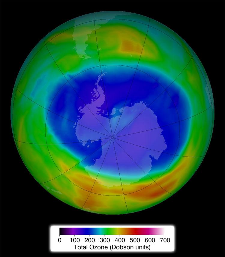 The ozone hole above Antarctica on 29 November 2014. Photo: NASA